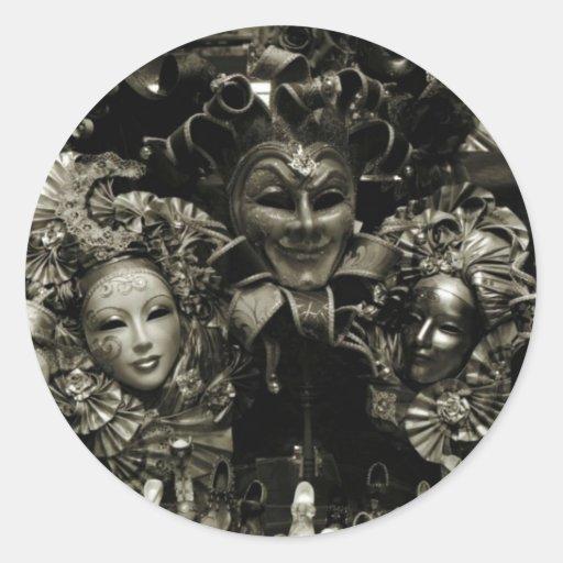 Máscara do carnaval de Veneza do carnaval Adesivos Redondos