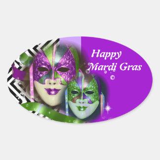 Máscara do carnaval do partido do mascarada adesivos em formato oval