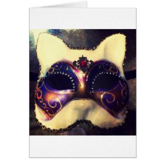 Máscara do gato cartão comemorativo