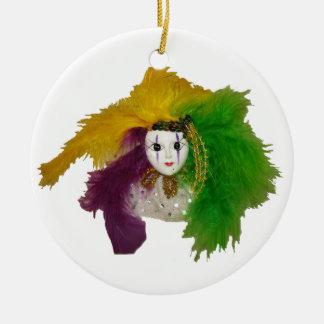 Máscara do indiano do carnaval ornamento de cerâmica redondo