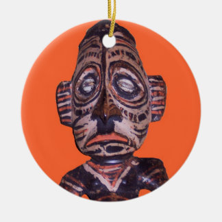 Máscara do polinésio do vintage ornamento de cerâmica redondo