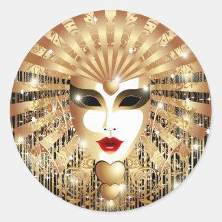 Máscara dourada do partido do carnaval de Veneza Adesivos Redondos
