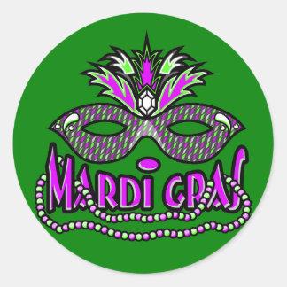 Máscara e miçanga do carnaval do KRW Adesivo Redondo