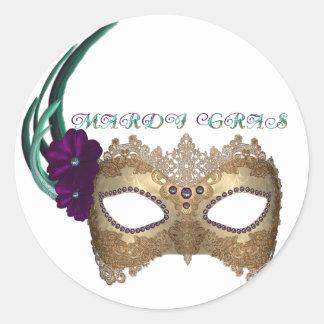 Máscara extravagante do carnaval do KRW Adesivo Em Formato Redondo