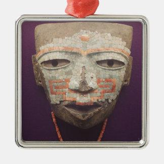 Máscara fúnebre de Teotihuacan Ornamento Quadrado Cor Prata