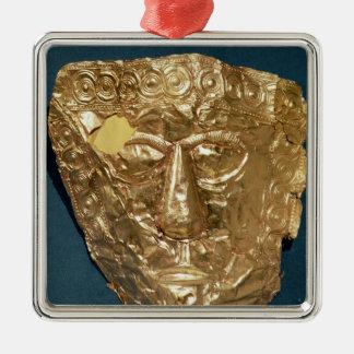 Máscara funerária ornamento quadrado cor prata