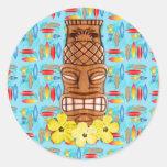 Máscara havaiana de Tiki Adesivo Redondo