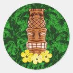 Máscara havaiana de Tiki Adesivos Redondos