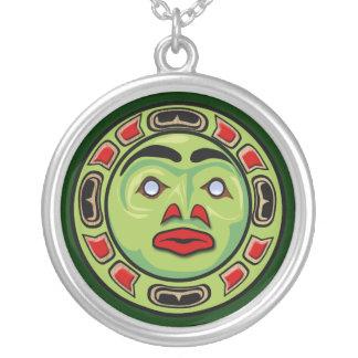 Máscara indiana da lua do nativo americano do colar banhado a prata