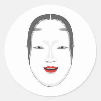 Máscara japonesa adesivo em formato redondo