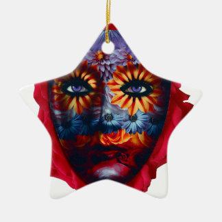 Máscara Misteriosa - Mystery Mask Ornamento De Cerâmica Estrela
