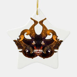 Máscara tribal do demónio ornamento de cerâmica estrela