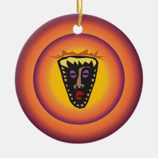 Máscara tribal Sun de incandescência da Ornamento De Cerâmica Redondo