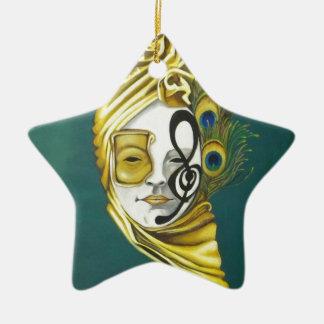 Máscara Venetian Ornamento De Cerâmica Estrela