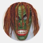 Máscara verde adesivos redondos