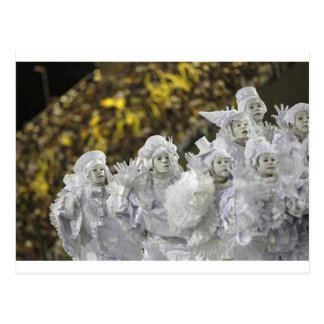 Mascarada branco do carnaval cartão postal