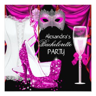 Mascarada Champagne 2 do rosa do espartilho de Convite Quadrado 13.35 X 13.35cm
