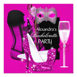 Mascarada Champagne 3 do rosa do espartilho de Convite Quadrado 13.35 X 13.35cm