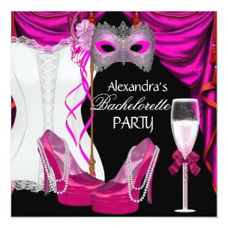 Mascarada Champagne do rosa do espartilho de Convite Quadrado 13.35 X 13.35cm