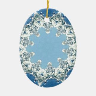 máscaras circulares delicados do azul ornamento de cerâmica oval