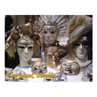 Máscaras de Veneza Carnaval Cartão Postal