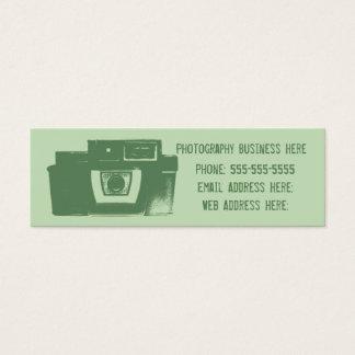 Máscaras do cartão de visita retro verde da câmera