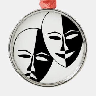 Máscaras do teatro ornamento redondo cor prata