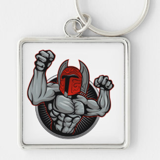 Mascote Trojan espartano Chaveiro Quadrado Na Cor Prata