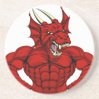 Mascote vermelha média do dragão porta copos de arenito
