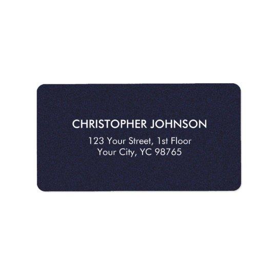 Masculino branco azul da textura elegante simples etiqueta de endereço