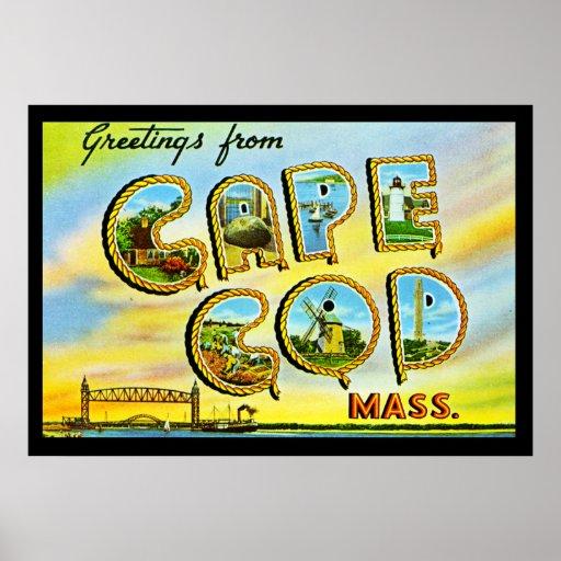 Massa de Cape Cod do vintage. Poster do art deco