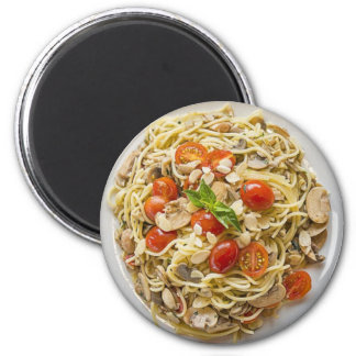 Massa, tomates, ímã da placa do cogumelo ímã redondo 5.08cm