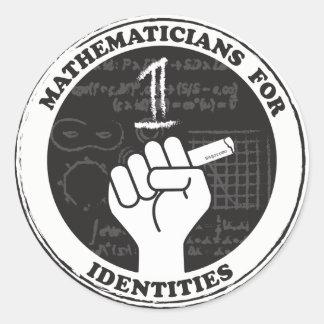 Matemáticos para etiquetas das identidades