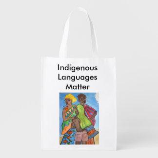 Matéria das línguas nativas sacolas ecológicas para supermercado