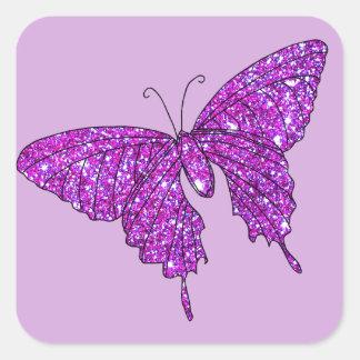 Material feminino da borboleta cor-de-rosa do adesivo quadrado