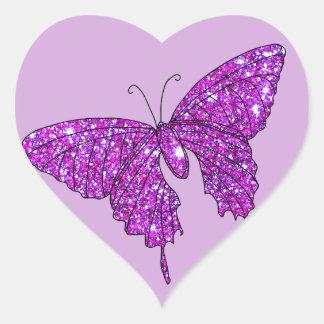Material feminino da borboleta cor-de-rosa do adesivo de coração