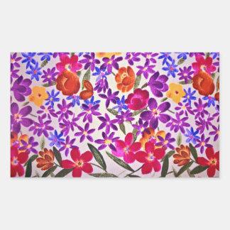 Material floral de pano adesivos em forma retangular
