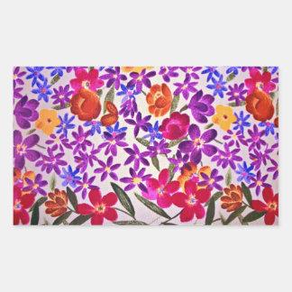 Material floral de pano adesivos retangular