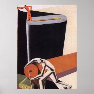 Matérias têxteis do negócio do art deco do vintage posters