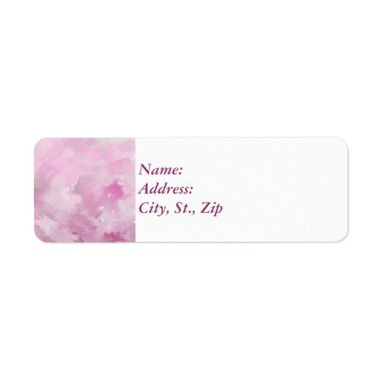 Matiz cor-de-rosa etiqueta endereço de retorno