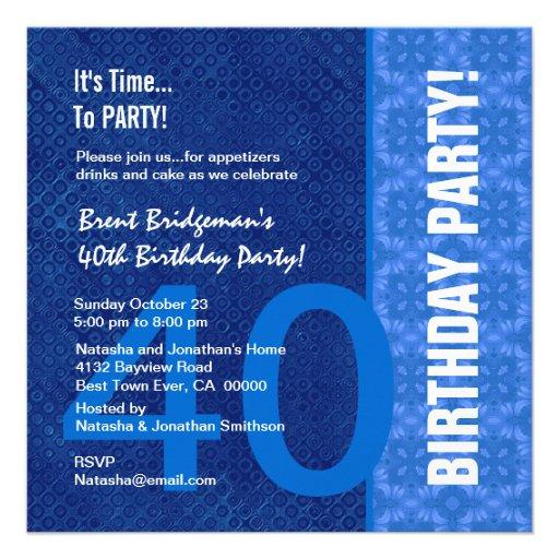 Matiz modernas do aniversário de 40 anos azul B40  Convites