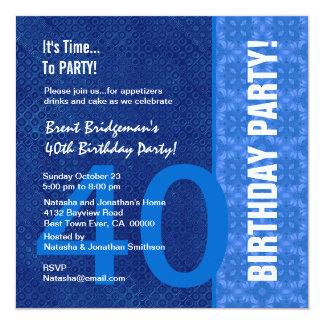 Matiz modernas do aniversário de 40 anos azul B40 Convite Quadrado 13.35 X 13.35cm