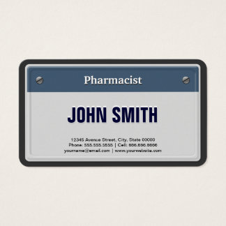 Matrícula legal do carro do farmacêutico cartão de visitas