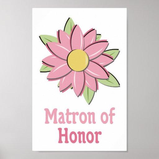 Matrona cor-de-rosa da flor da honra posters