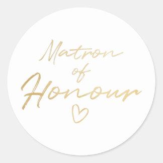 Matrona da honra - o falso do ouro foil a etiqueta