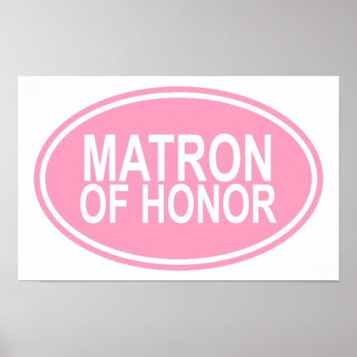 Matrona da honra que Wedding o rosa oval Impressão