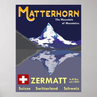 Matterhorn, Zermatt, suiça, poster do esqui