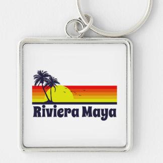 Maya de Riviera Chaveiro Quadrado Na Cor Prata