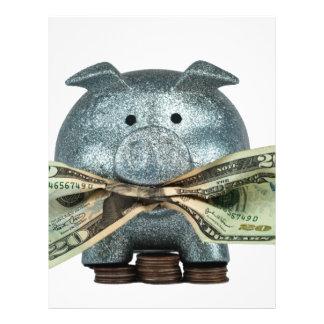 Mealheiro de prata que come o dinheiro panfleto personalizado