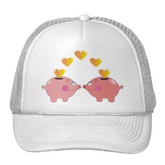 Mealheiros dos desenhos animados em chapéus boné